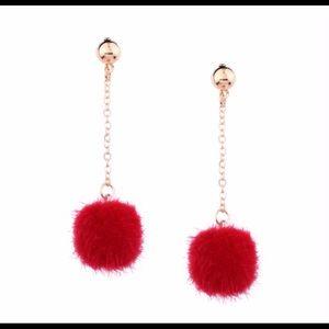 Jewelry - Red Pom Pom Earrings